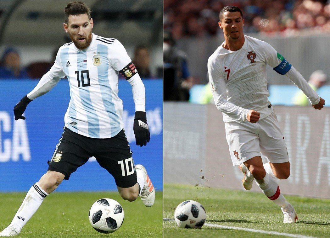葡萄牙主攻手C羅納度(右)與阿根廷指揮官梅西,是近代足球界一時瑜亮。 路透