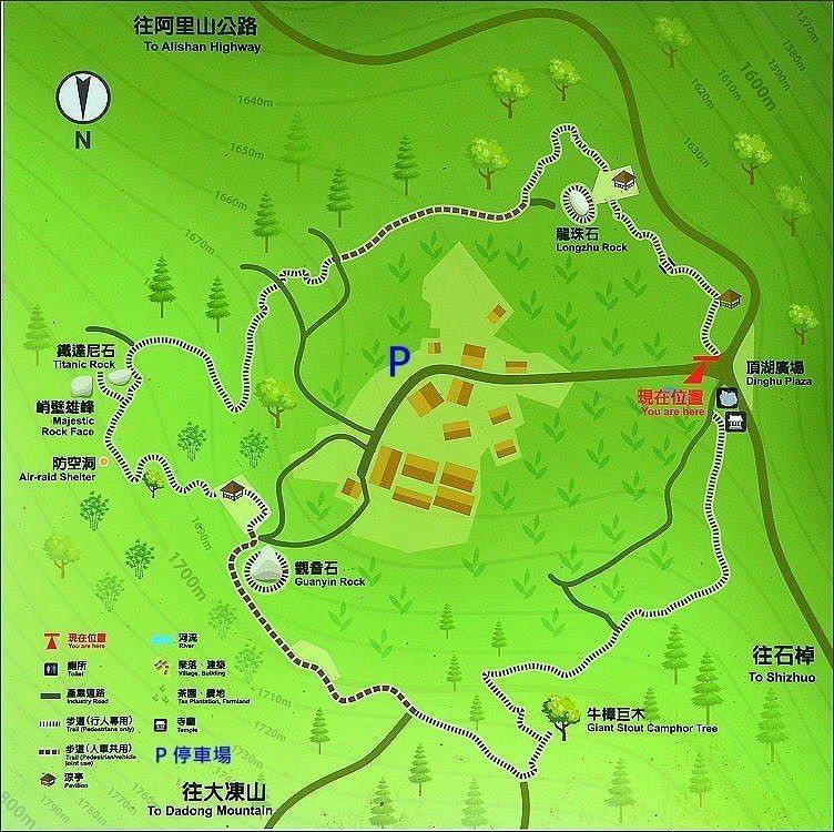↑頂湖另有一條環頂湖步道,也是很棒的森林浴步道。本圖摘自阿里山林管處立的導覽牌,...