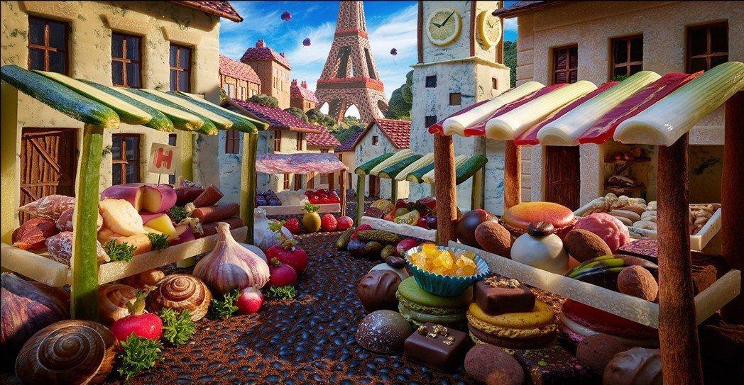 巴黎篇。Hotels.com與食物藝術家卡爾華納(Carl Warner)合作,以食物創作城市風貌。圖/Hotels.com提供