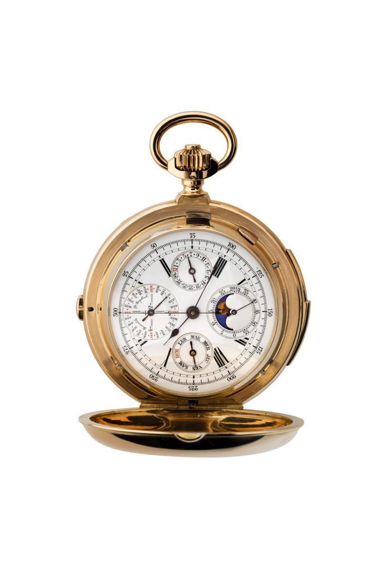 展品中最古老的懷表,配備三問報時功能、計時碼表、萬年曆(星期、日期、月份以及月像...