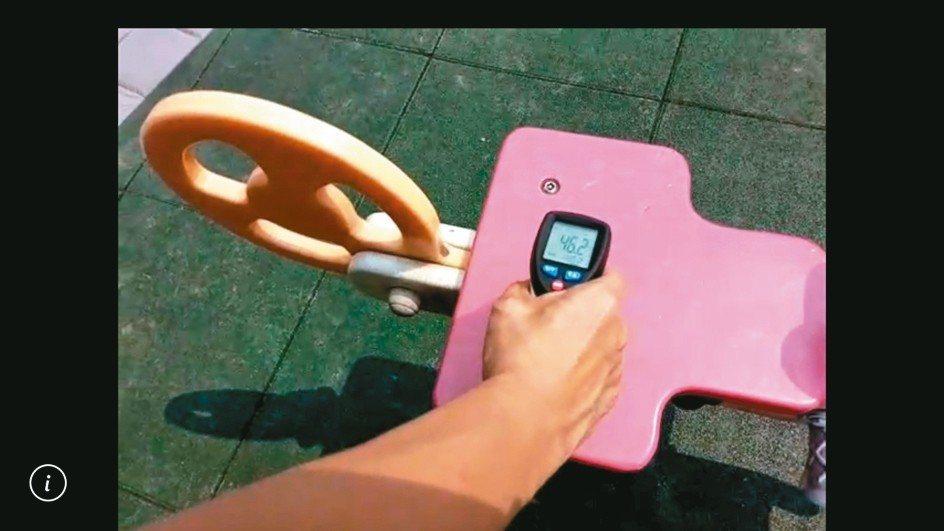 台中市議員張雅旻實測遊具塑膠馬,表面溫度有46.5度。 記者陳秋雲/翻攝