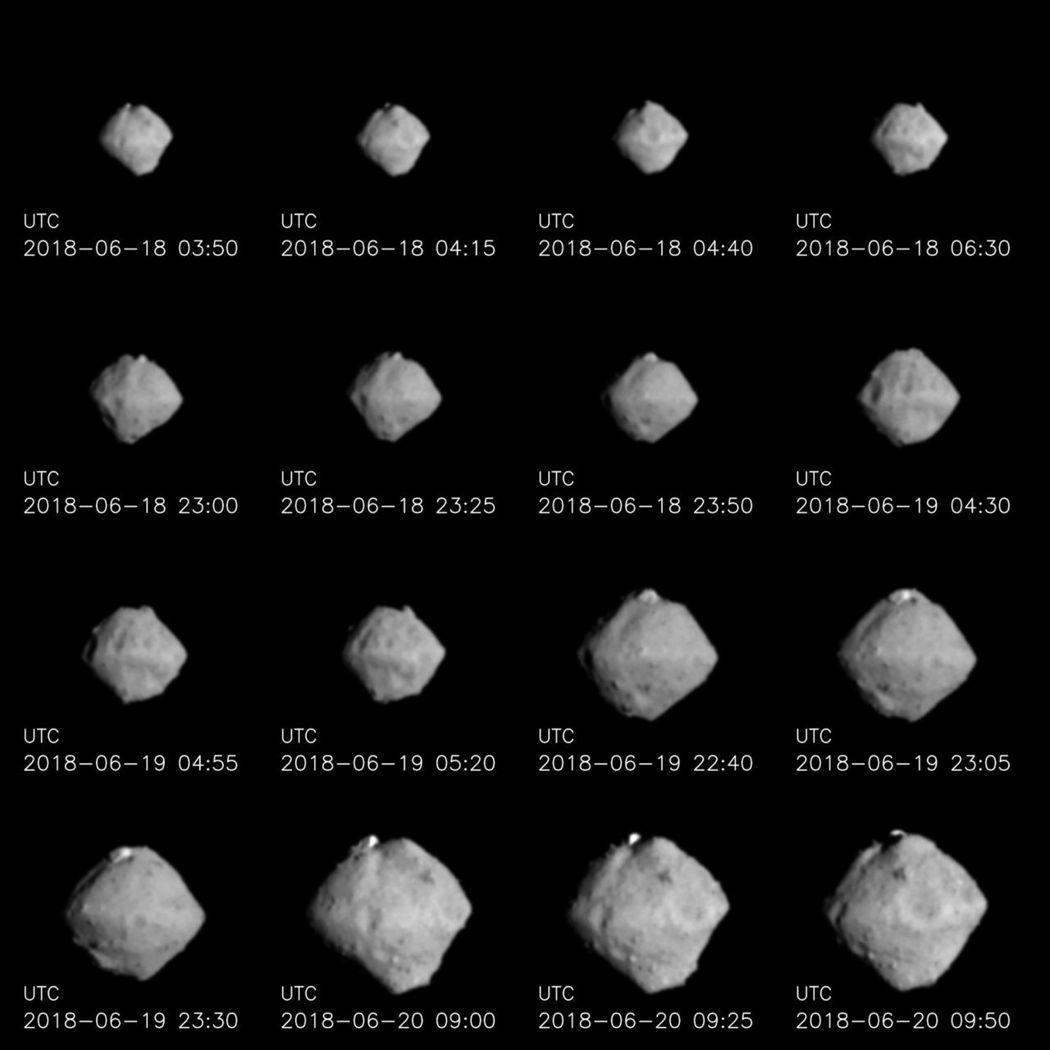 「隼鳥2號」攝影機從6月18日至20日拍攝到的小行星「龍宮」畫面。圖/日本太空總...