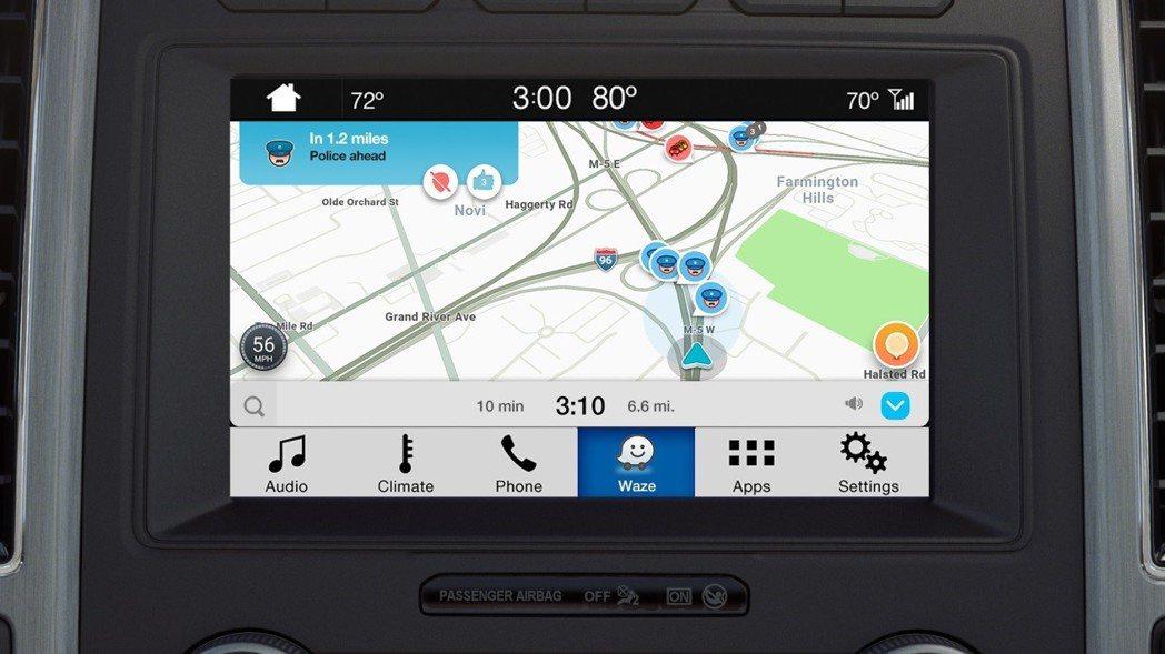SYNC® 3娛樂通訊整合系統升級搭載Google旗下的Waze導航資訊,具備一鍵操作與社群回報等多樣功能。 Ford提供