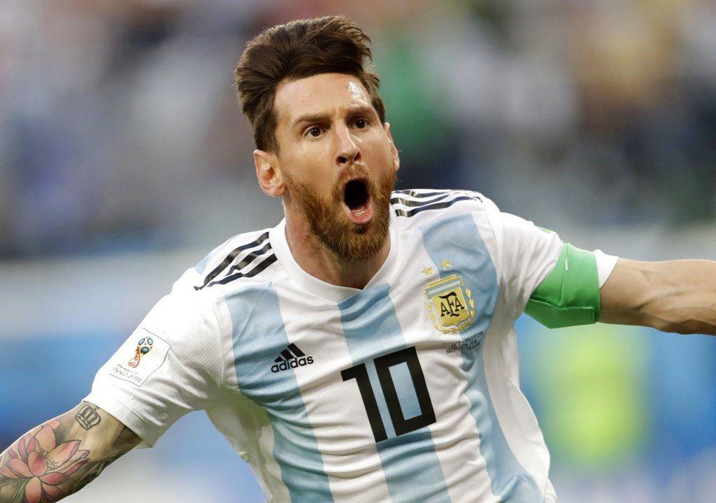 阿根廷梅西首開紀錄進球。美聯社