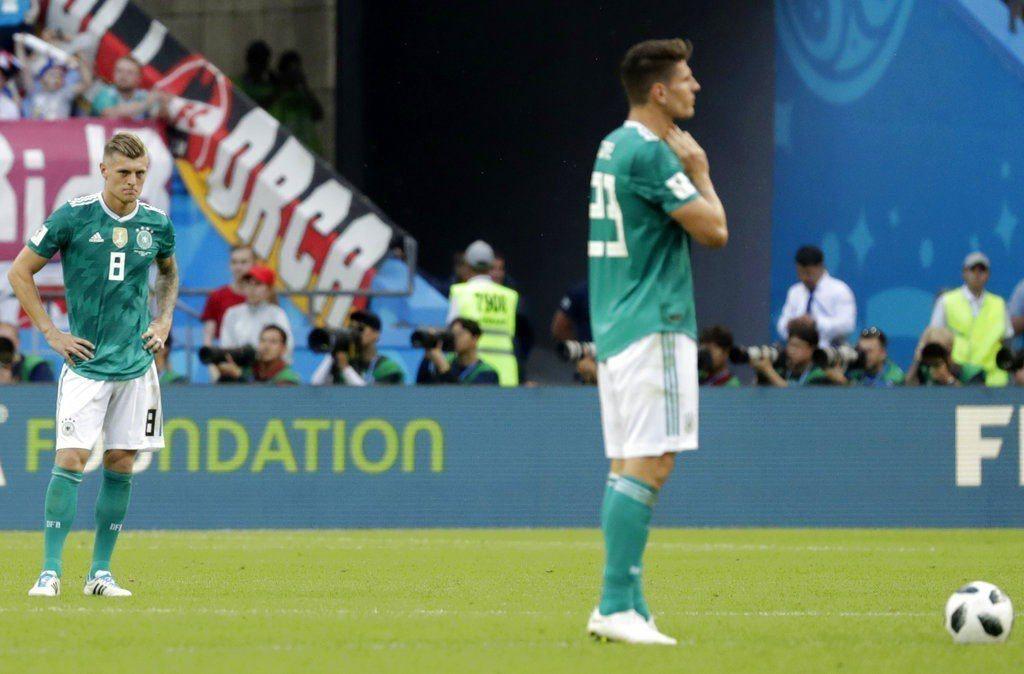 輸給南韓,德國球員無語問蒼天。 美聯社