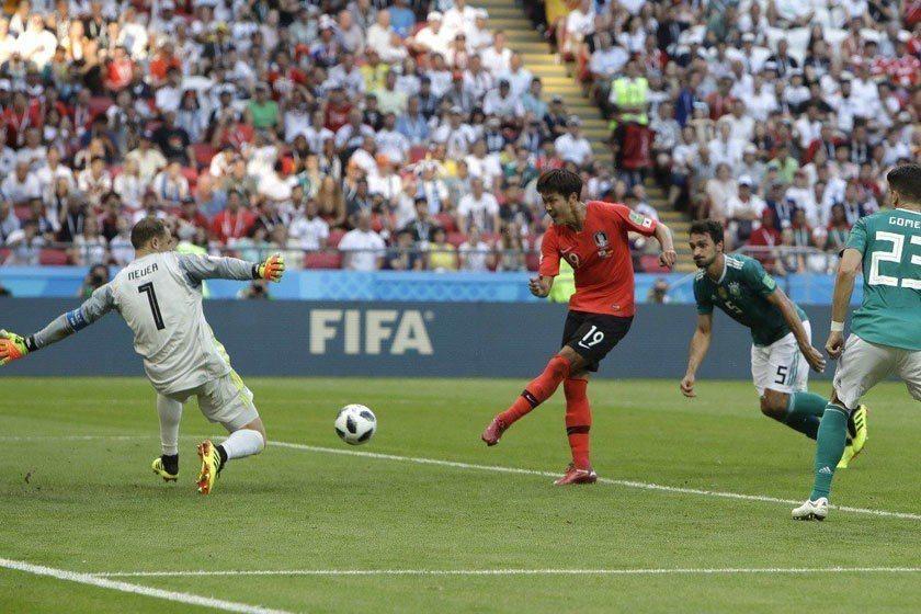 南韓後衛金英權(中)在傷停補時的神奇進球,一腳把上屆冠軍德國隊踢出16強之外。 ...