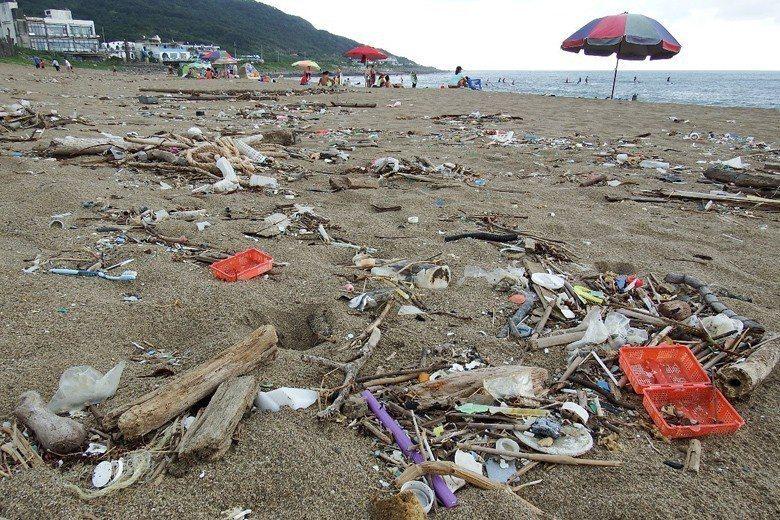 相信滿地的海漂垃圾,已經足以說明垃圾過量的現實與嚴重性。圖為新北市沙珠灣。 圖/...