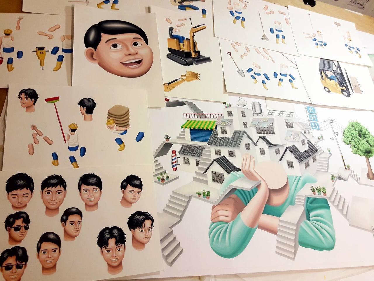 二搞創意無限參與第29屆金曲獎入圍影片「最佳台語男歌手」插畫手稿。圖/文 聯合數...