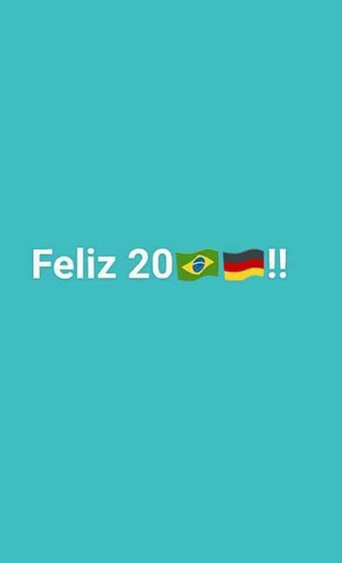 克魯斯在推特留言「2017年快樂」,「1」和「7」分別由巴西和德國國旗取代。圖/...
