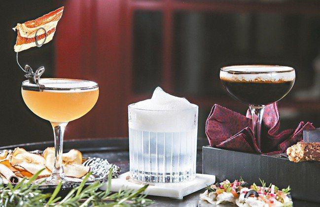 菱玖洋服的調酒:床笫之間(左起)、紳士的下午茶、黑手黨。 圖/陳立凱、蘇健忠、楊...