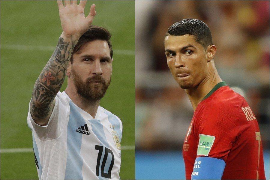 阿根廷與葡萄牙若過關,梅西(左)、C羅(右)八強將正面對決,想必也是球迷最期待的...