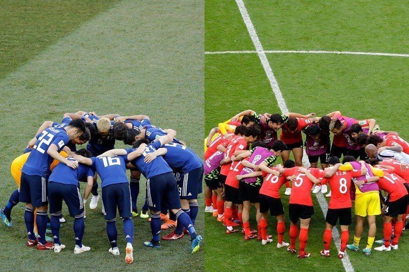 南韓(右)小組賽最後一戰因為堅持最後幾分鐘,與日本(左)不能堅持最後幾分鐘,呈現...