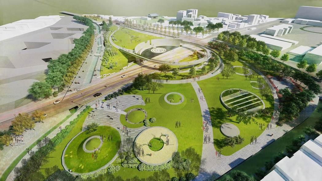 乙未戰爭紀念公園包括地下停車場規畫工程案(示意圖)。圖/桃園市客家事務局提供