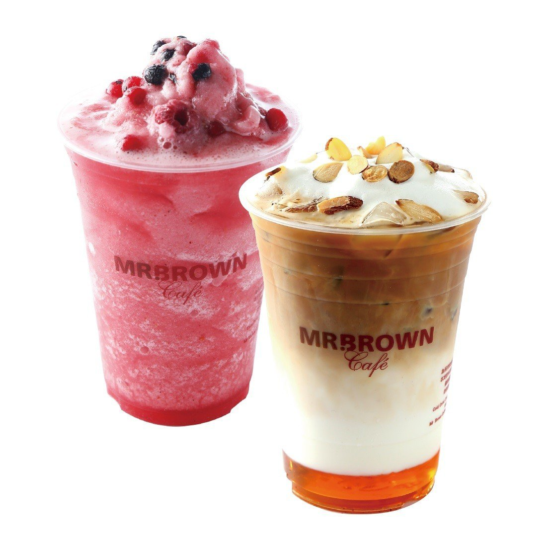 伯朗咖啡館新品,前為鹽味焦糖拿鐵,後為鹽味青蘋野莓法樂皮。圖/伯朗咖啡館提供