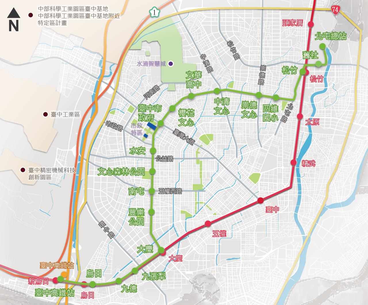 台中市交通局今天公布捷運綠線全線18個車站正式名稱,以既有軌道轉乘站、在地地標、...