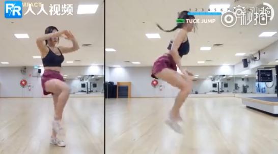 盡量跳高,大腿去碰雙手,這個動作能讓心律上升,讓呼吸加快。