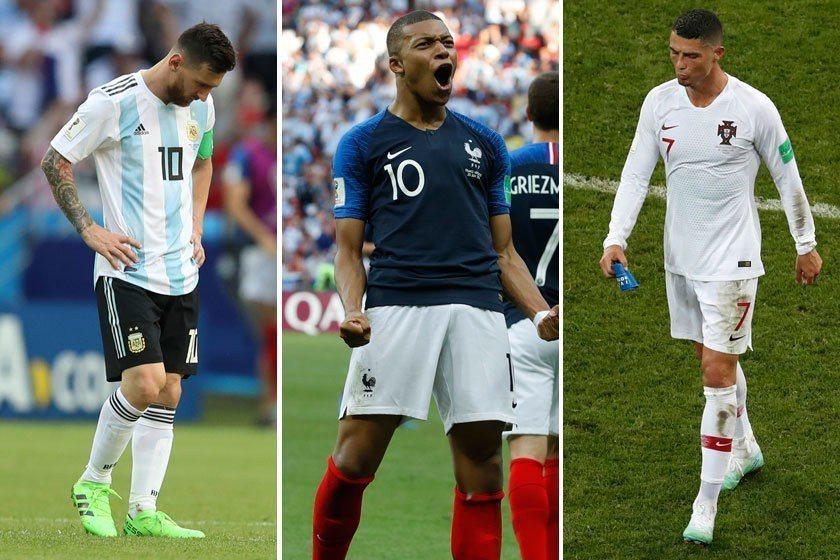 短短不到6個小時之內,分別看到兩大球星梅西(左)和C羅(右)黯然走下世界盃舞台,...