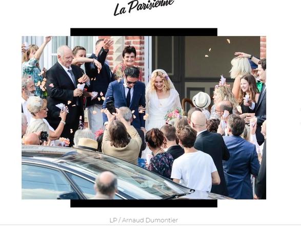 凡妮莎(中間右)昨在法國巴黎聖西蒙鎮的市政廳完婚。翻攝LeParisienne