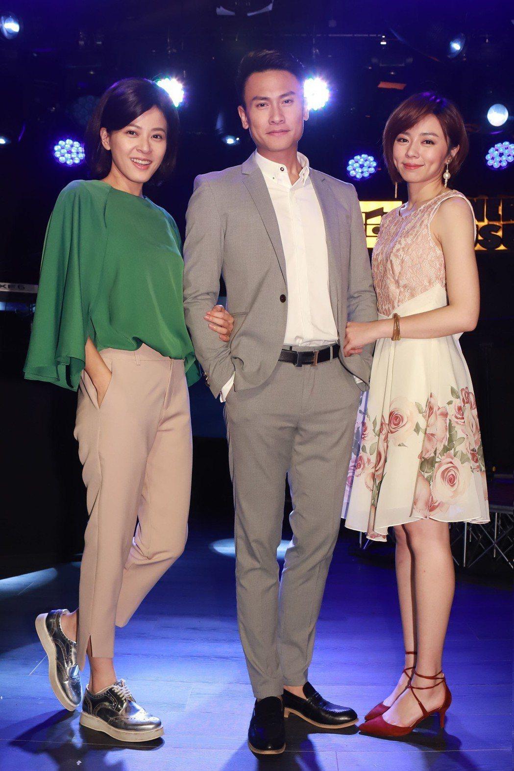 王瞳(右起)、王建復、蘇晏霈拍攝「幸福來了」殺青戲。圖/民視提供