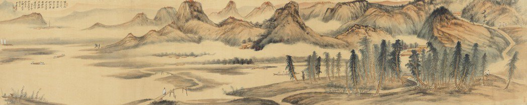 張大千〈山水 江堤晚景〉1948年、設色絹本、82405cm、成交價3億3040...