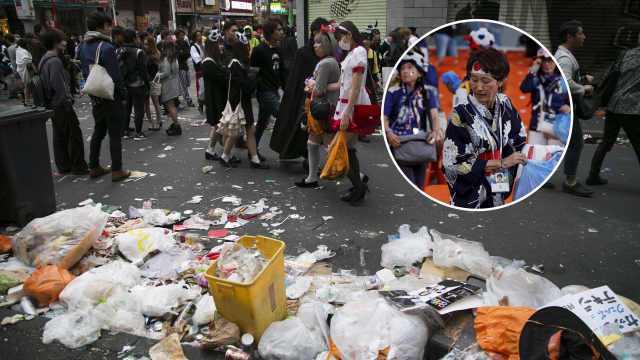 大陸媒體透過直播質疑,日本人在世足場中表演清潔秀,在自己國內卻是看球後垃圾堆積如...