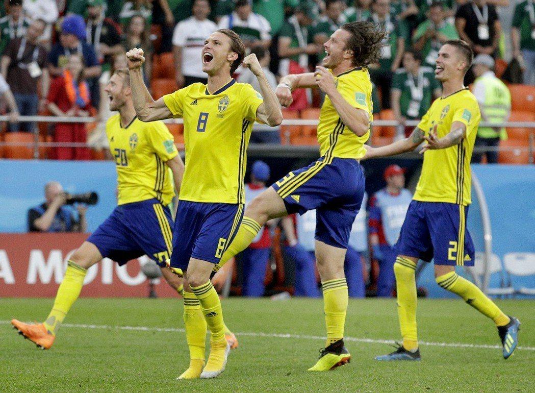 瑞典隊。 美聯社