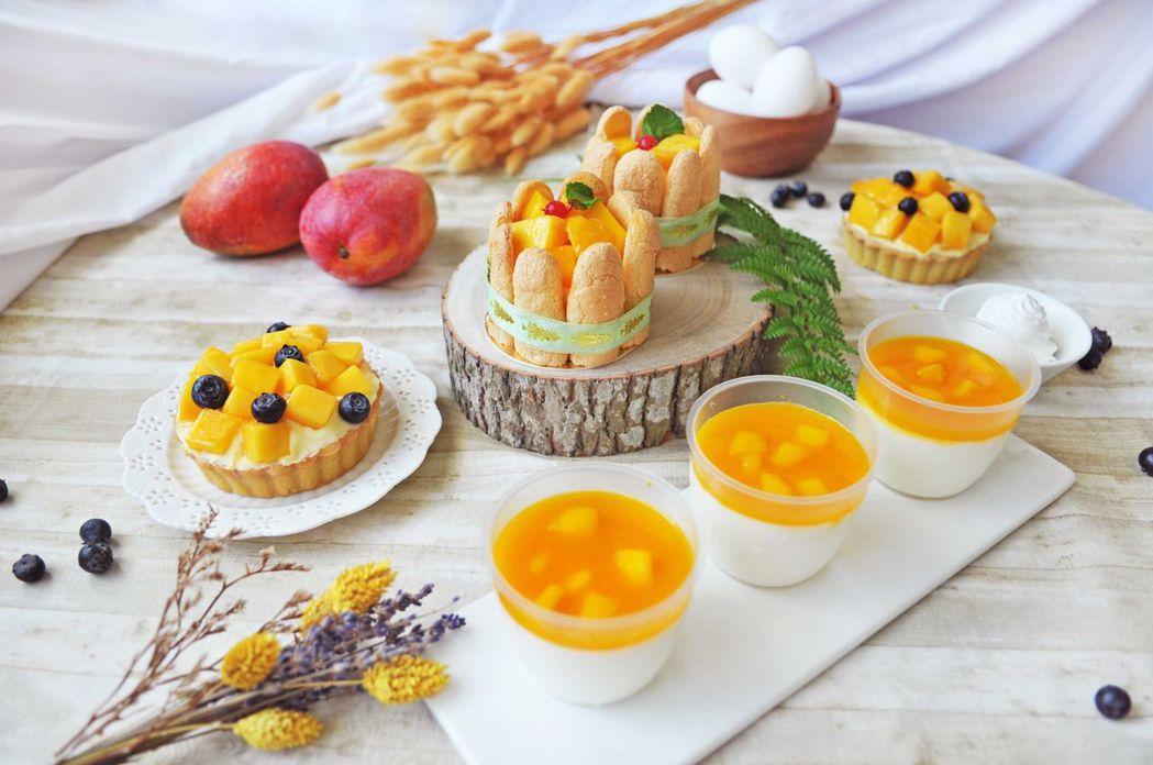 台南大飯店推出金黃色的各種芒果甜點,相當誘人。   台南大飯店 提供