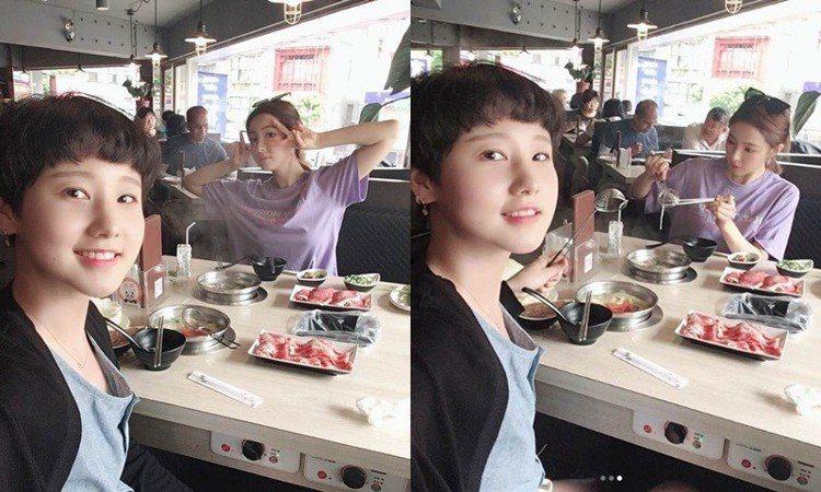 申世景與友人品嚐火鍋。圖/擷自instagram