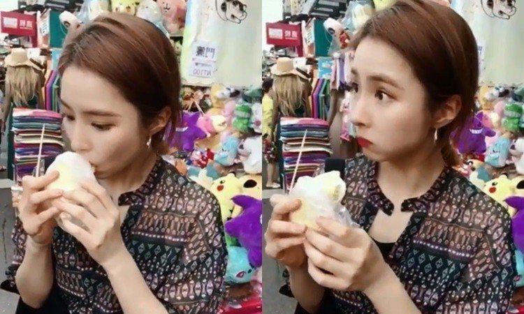 申世景挑戰在路邊吃榴槤。圖/擷自instagram