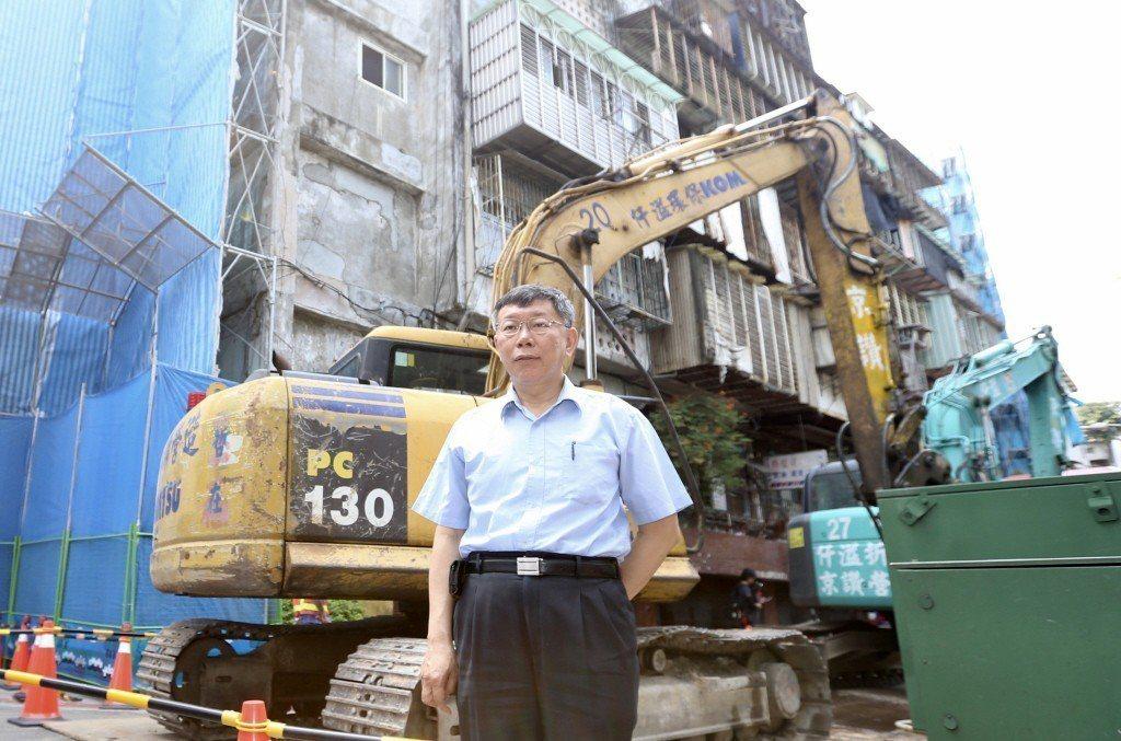 台北市長柯文哲出席斯文里三期公辦都更動工典禮。 圖/聯合報系資料照