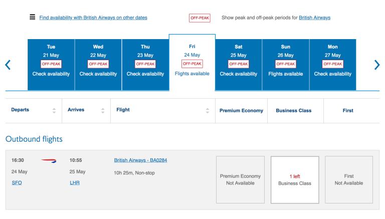 有查詢到英國航空的哩程機位,就可以升等! 圖文來自於:TripPlus