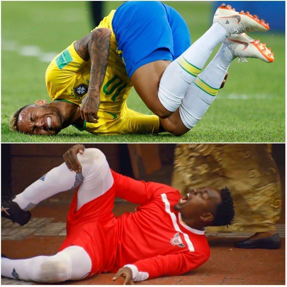 巴西足球金童內馬爾太會假摔,竟與南非肯德基推出的新廣告不謀而合。美聯/翻攝 Yo...