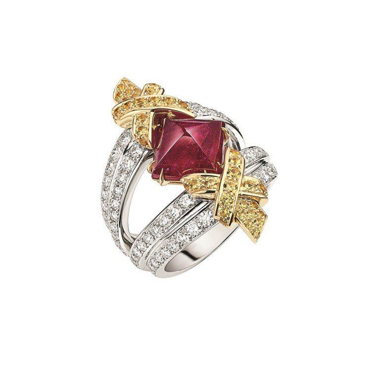 Terres d'Or Toi Moi戒指,18K白金和黃金鑲嵌4.24 克拉s...