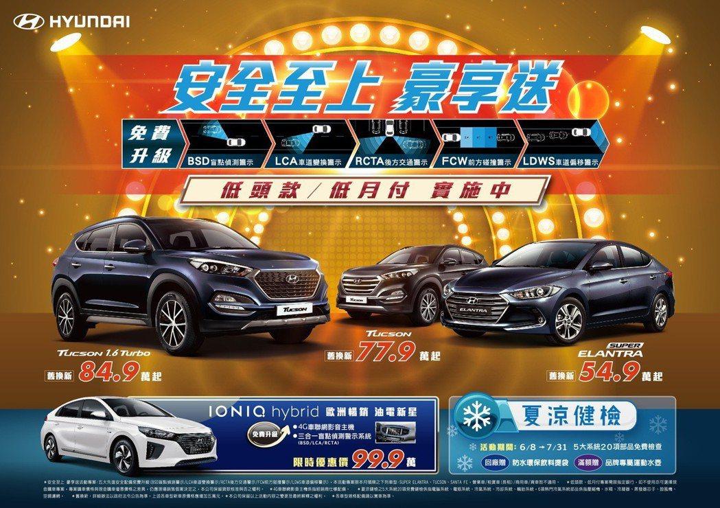針對暢銷國產車款不分等級升級5大主動安全科技之外,更提供「低頭款 低月付」高額購...