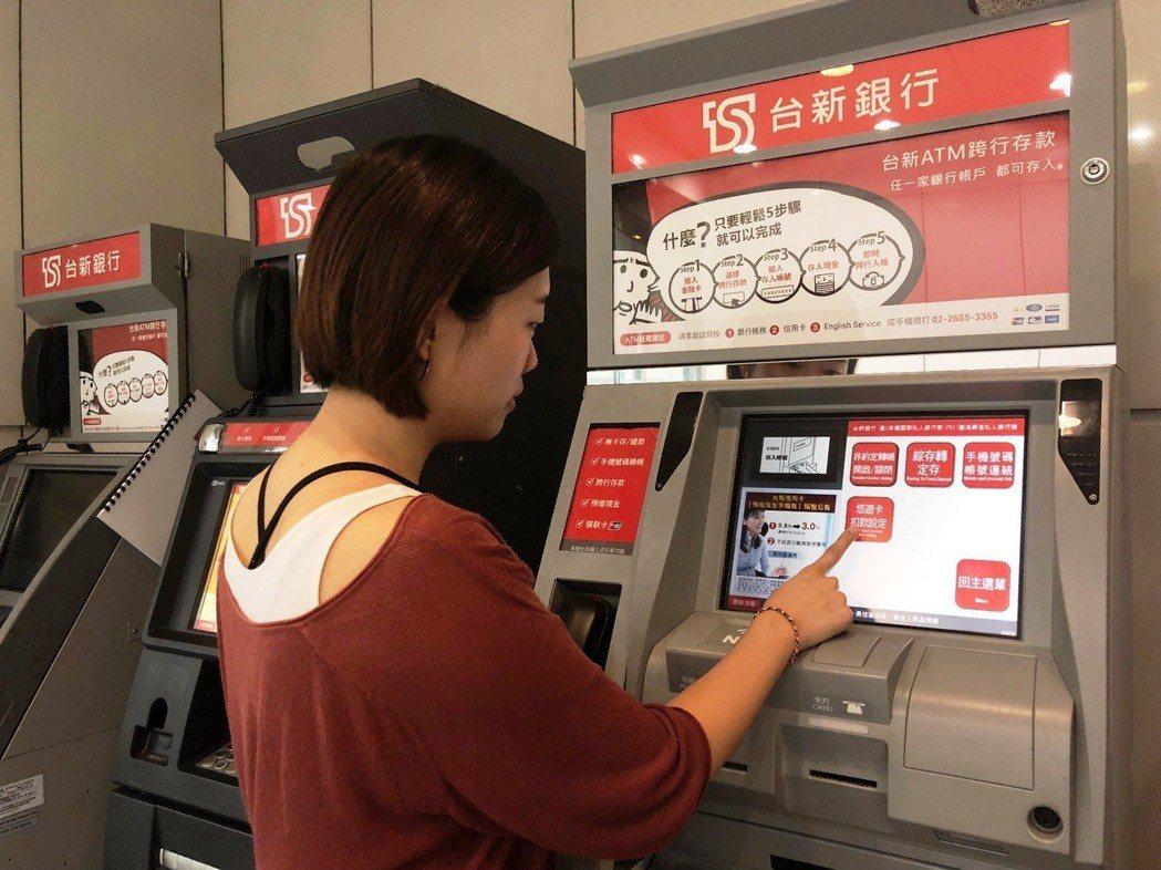 台新銀行ATM提供台幣存款户先绑定悠遊卡後,即可自動加值。圖/台新提供
