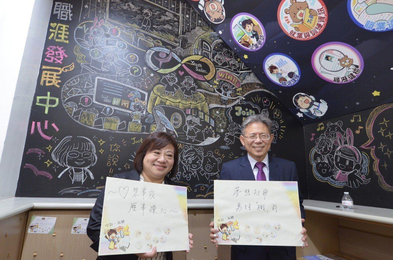 勞動部次長林三貴(右)與副署長施貞在YS留言,鼓勵青年「勇敢追夢」。圖/雲嘉南分...