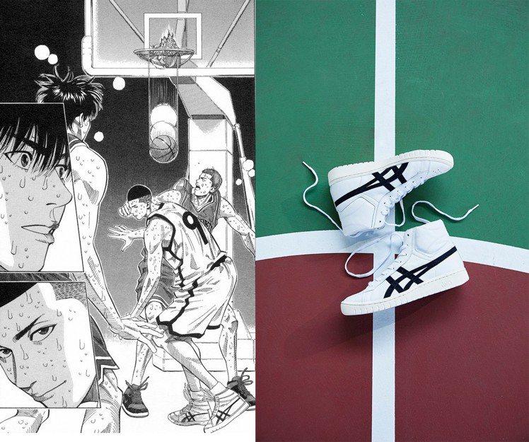 亞瑟士今年推出以「灌籃高手」中澤北榮治所穿的戰靴(左)為概念的復刻款ASICST...