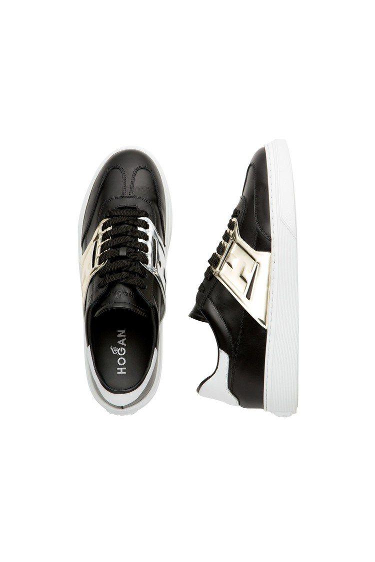 黑色拼接金屬皮革男士休閒鞋,售價15,900元。圖/HOGAN提供