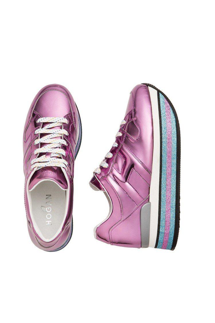 金屬粉色皮革休閒鞋,售價24,600元。圖/HOGAN提供