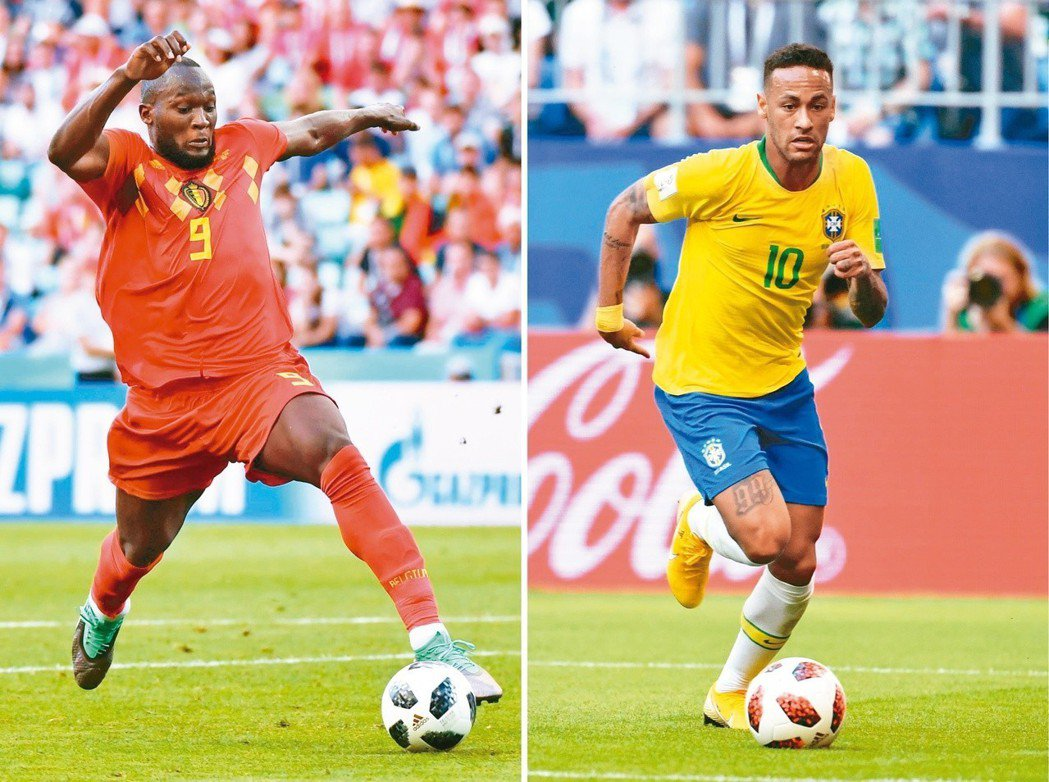 內馬爾(右)與盧卡庫(左)的對決將是比賽焦點。 (法新社)