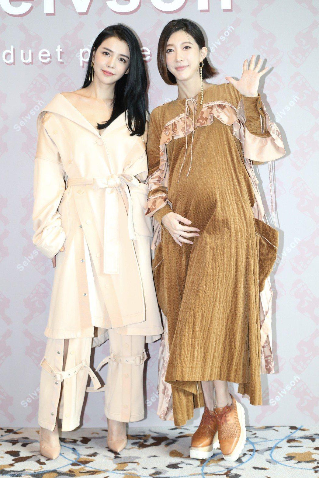 李毓芬(左)為好友宋米秦(右)的服裝品牌代言,她一出場就摸著懷孕的宋米秦直說媽媽...