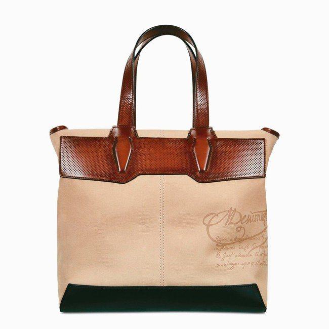 Berluti Aire Small帆布與皮革拼接手提袋,約81,500元。 圖...
