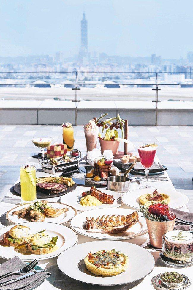 台北萬豪酒店20樓高空INGES Bar & Grill主打雙人套餐。 圖/台北...