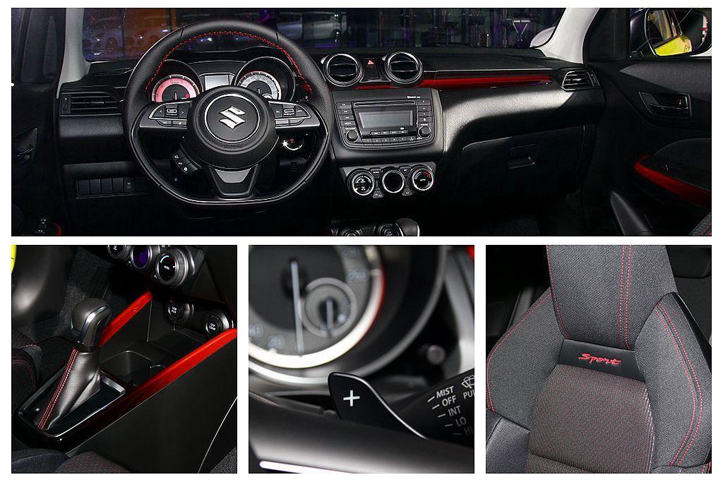 內裝採用大膽的紅、黑對比色調呈現,前座更換上Sport專屬前運動座椅。 記者張振...