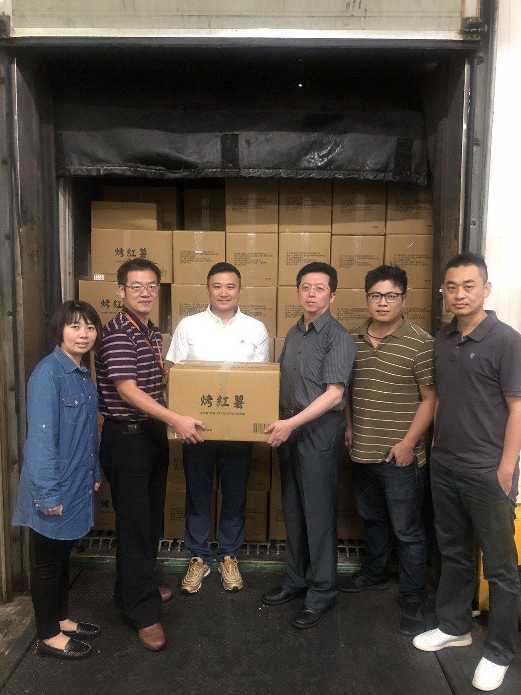 金色大地將台農57號地瓜引入中國大陸便利商店,首航40公噸封櫃出口。 吳青常/攝...