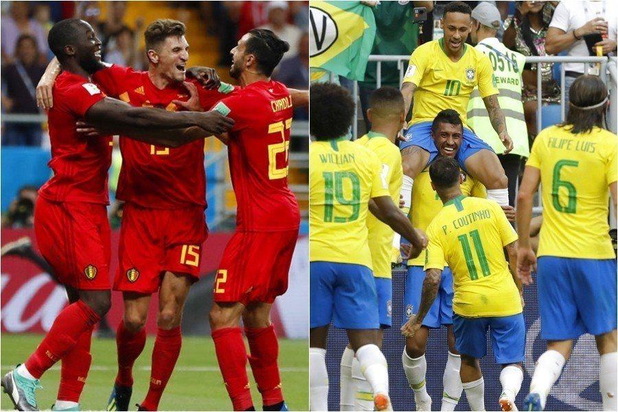 比利時(左)與巴西(右)是最火力四射的組合,雙方實力接近勝負難料,運彩推兩隊都進...