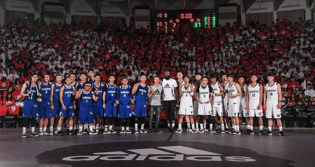 NBA球星(中)James Harden出席adidas明星籃球對抗賽。圖/ad...