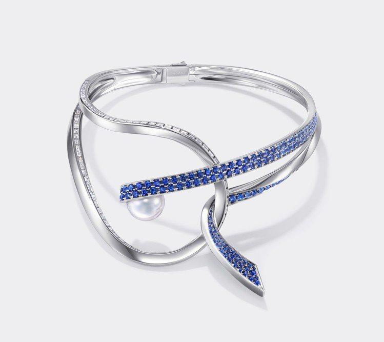 TASAKI Atelier Aurora南洋珍珠藍色剛玉頸圈。圖/TASAKI...
