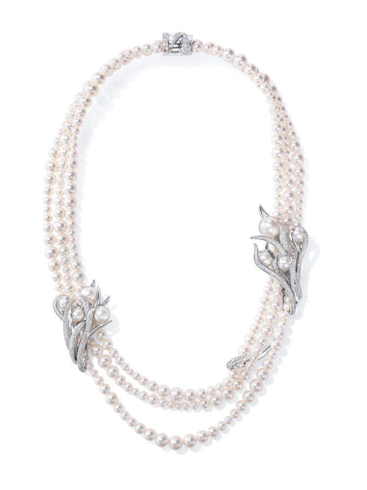 TASAKI Éveil鑽石珍珠鉑金項鍊,鉑金鑲嵌鑽石、阿古屋珍珠、南洋珍珠。圖...