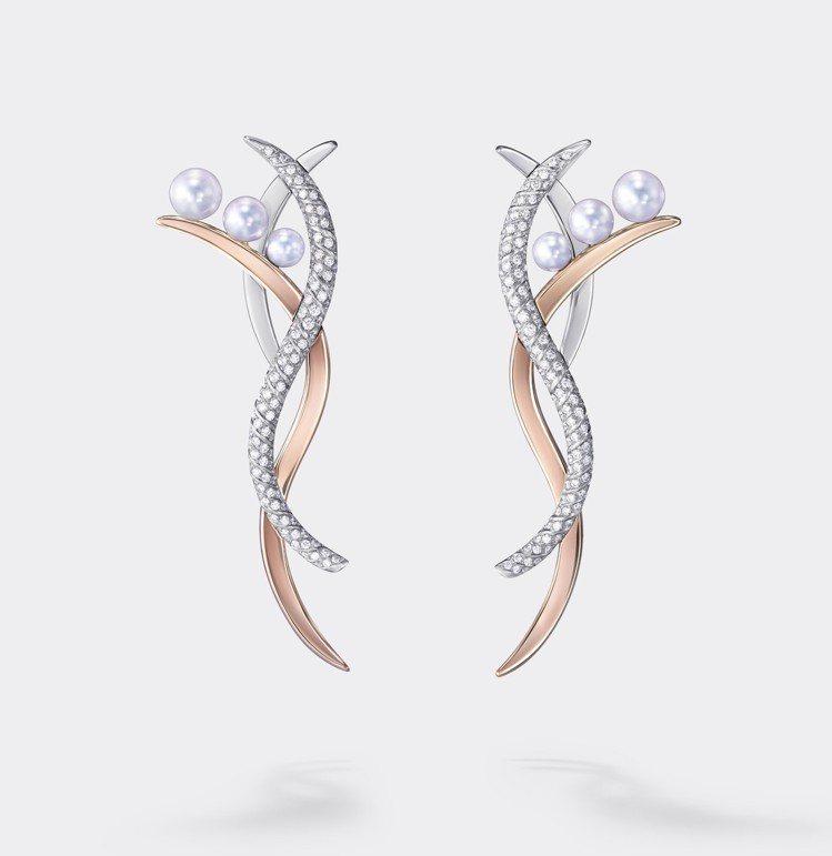TASAKI Atelier Nacreous 鑽石珍珠櫻花金耳環。圖/TASA...